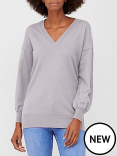 v-by-very-v-neck-longline-jumper-light-grey-marl