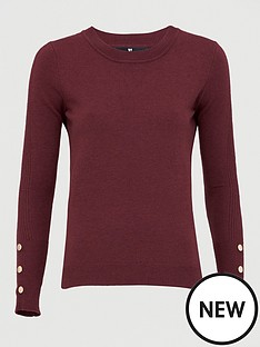 v-by-very-button-sleeve-detail-crew-neck-jumper-burgundy