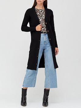 v-by-very-rib-button-up-longline-cardigan-black