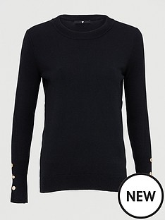 v-by-very-button-sleeve-detail-crew-neck-jumper-black