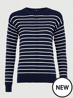 v-by-very-striped-seam-front-detail-button-hem-jumper-navywhite