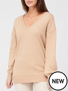 v-by-very-v-neck-longline-jumper-camel