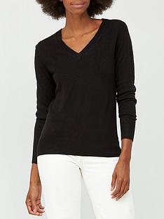 v-by-very-super-softnbspv-neck-deep-rib-hem-jumper-black