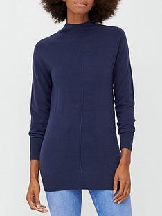 v-by-very-super-softnbspfront-seam-detail-longline-jumper-navy
