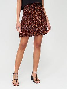 warehouse-tortoiseshell-mini-skirt-brown