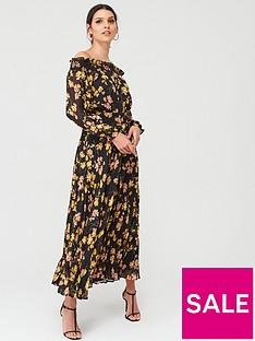 warehouse-petal-print-puff-sleeve-bardot-midi-dress-black