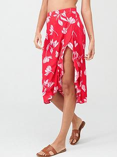 pour-moi-textured-frill-wrap-skirt-redpink