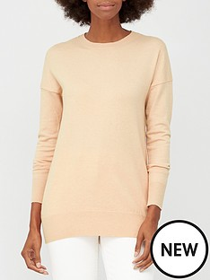 v-by-very-crew-neck-longline-jumper-oatmeal