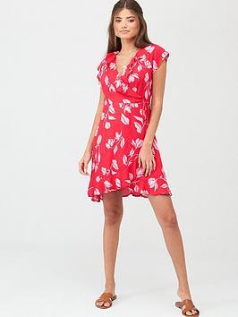 pour-moi-textured-frill-wrap-beach-dress-redpink