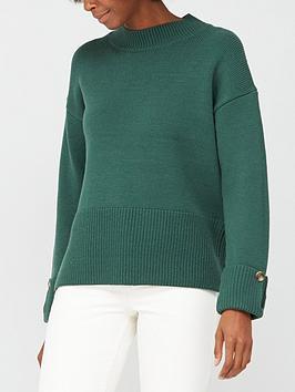 v-by-very-deep-rib-hem-button-cuff-jumper-forest-green