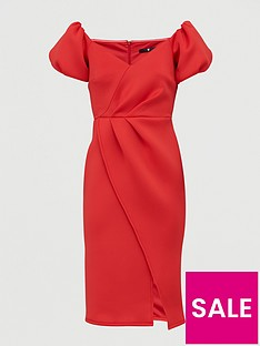 v-by-very-bardot-scuba-wrap-front-midi-dress-red