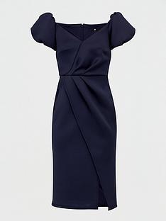 v-by-very-bardot-scuba-wrap-front-midi-dress-navy