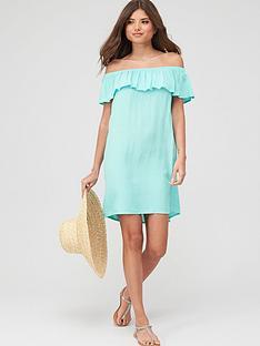 pour-moi-textured-print-bardot-beach-dress-mint