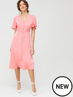 warehouse-satin-button-front-midi-dress-coral