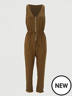 v-by-very-zip-through-sleeveless-jumpsuit-khaki