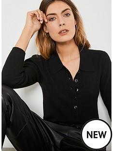 mint-velvet-puff-sleeve-polo-shirt-black