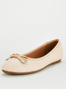 wallis-wide-fit-weave-ballerina-beige