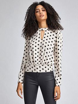 dorothy-perkins-spot-print-long-sleeve-blouse-blush