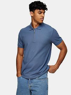 topman-zip-pique-polo-shirt-blue
