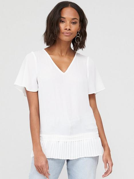 v-by-very-pleated-hem-fluted-short-sleeve-top-ivory