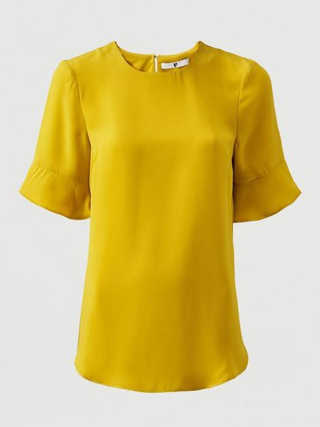 v-by-very-fluted-short-sleeve-top-ochre