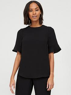 v-by-very-fluted-short-sleeve-top-black