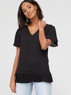 v-by-very-pleated-hem-fluted-short-sleeve-top-black