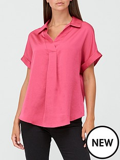 v-by-very-short-sleeve-collared-notch-neck-topnbsp--pink
