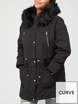 v-by-very-curve-zip-detail-faux-fur-trim-hooded-parka-coat-black