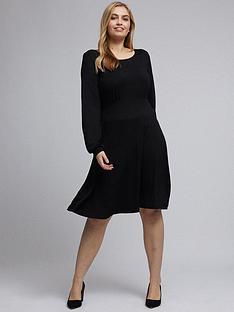 dorothy-perkins-curve-empire-seam-long-sleeve-midi-dress-blacknbsp