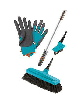 gardena-combi-system-handle-patio-weeder-head-broom-head-free-gloves