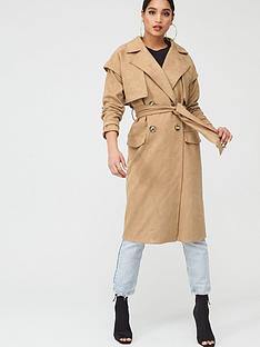 in-the-style-in-the-style-x-stephsanbspfaux-suede-pocket-detail-trench-coat-brown
