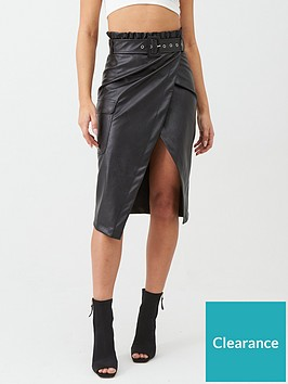 in-the-style-in-the-style-x-billie-faiers-paperbag-wrap-faux-leather-midi-skirt-black
