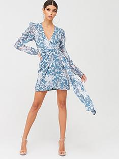 in-the-style-in-the-style-x-billie-faiersnbspextreme-drape-wrap-mini-dress-tealnbspprint