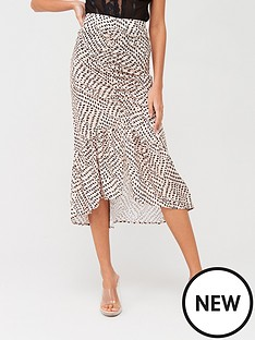 missguided-missguided-dalmatian-print-ruched-midi-skirt-nude