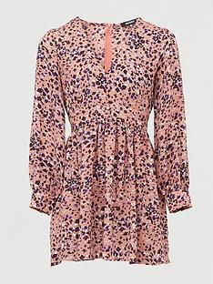 missguided-leopard-print-plunge-skater-dress-pink