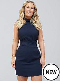kate-ferdinand-tie-waist-mini-dress-navy