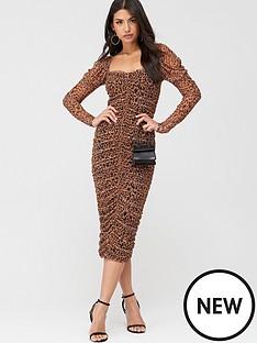 missguided-missguided-mesh-leopard-puff-sleeve-midi-dress-brown