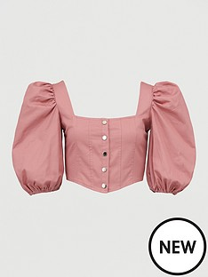 missguided-missguidednbsppuff-sleeve-button-down-corset-top-pink