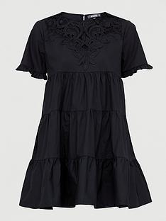 missguided-missguidednbsppoplin-crochet-smock-dress-black