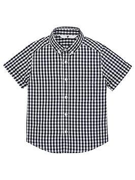v-by-very-boys-short-sleeved-gingham-checked-shirt-black