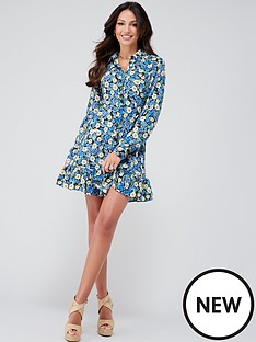 michelle-keegan-tie-waist-printed-shirt-dress-blue-floral