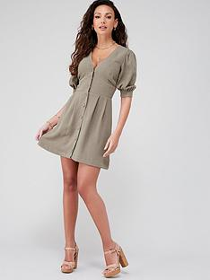 michelle-keegan-casual-button-through-skater-dress-khaki