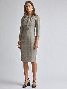 dorothy-perkins-check-high-neck-dress-multi