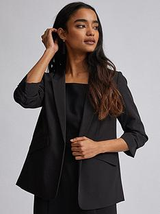 dorothy-perkins-dorothy-perkins-petite-black-ruched-sleeve-jacket