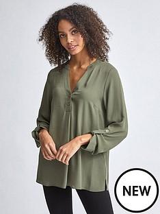 dorothy-perkins-double-button-roll-sleeve-blouse-khaki