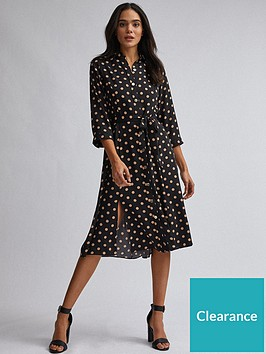 dorothy-perkins-spot-midi-shirt-dress-black