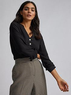 dorothy-perkins-double-button-roll-sleeve-blouse-black