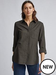 dorothy-perkins-linen-shirt-khaki