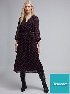dorothy-perkins-polka-dot-long-sleeve-chiffon-wrap-midi-dress-black